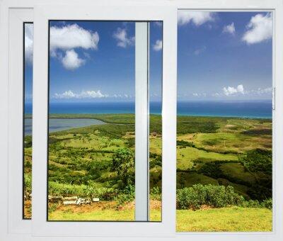 Fototapet natur landskap med en vy genom ett fönster