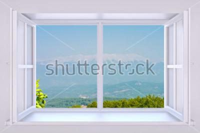 Fototapet Naturen bakom ett fönster 3d gör med infogat foto