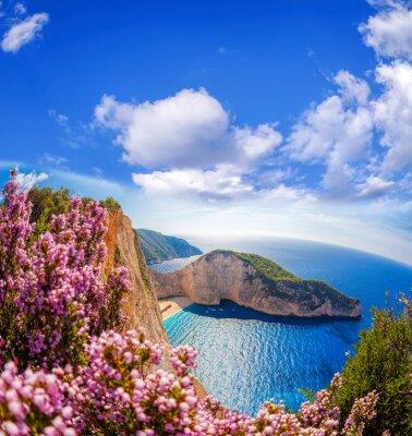 Fototapet Navagio strand med skeppsbrott och blommor mot blå himmel på Zakynthos, Grekland