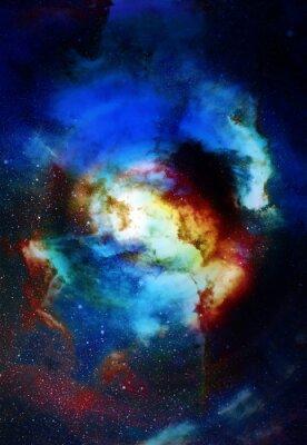 Fototapet Nebula, världsrymden och stjärnor, blå kosmiska abstrakt bakgrund. Delar av denna bild som tillhandahålls av NASA.