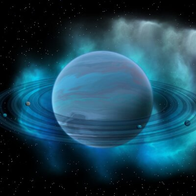 Fototapet Neptune Planet - Neptunus är åtta planet i vårt solsystem och har planet ringar och en stor mörk fläck indikerar en storm på sin yta.