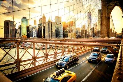 Fototapet New York, Brooklyn Bridge skyline