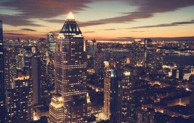Fototapet New York City horisont på natten
