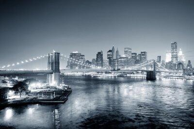 Fototapet New York City Manhattan centrum svart och vitt