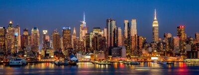 Fototapet New York City Manhattan Midtown byggnader skyline natt