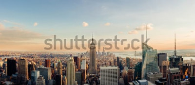 Fototapet New York horisont, ser till centrala Manhattan. Panoramabild.