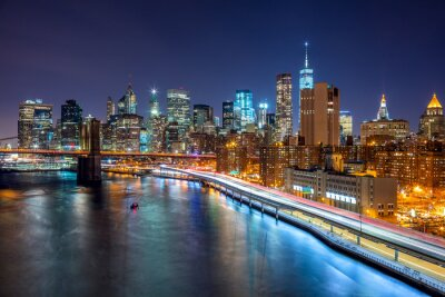 Fototapet New York nattplats med Manhattans skyline och Brooklin B