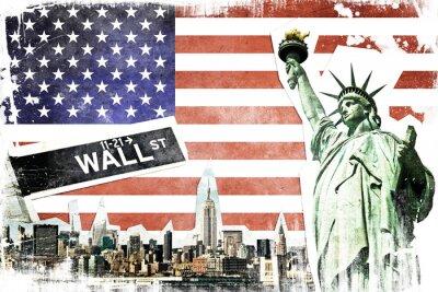 Fototapet New York tappning collage, US sjunker bakgrund