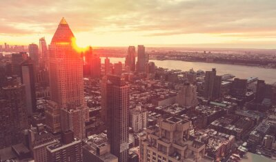 Fototapet New Yorks skyline i solnedgången