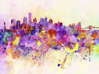 Fototapet New Yorks skyline i vattenfärg bakgrund