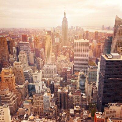 Fototapet New Yorks skyline med retro filtereffekt, USA.