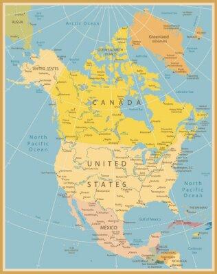Fototapet Nordamerika Detaljerad karta Vintage färger
