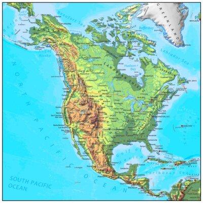 Fototapet Nordamerika fysisk kontinent karta