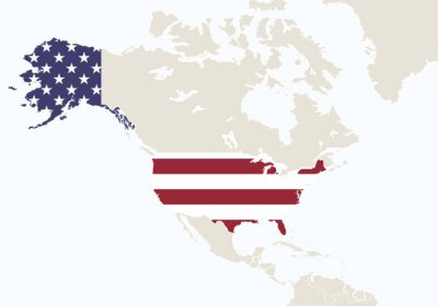 Fototapet Nordamerika med markerad USA karta.