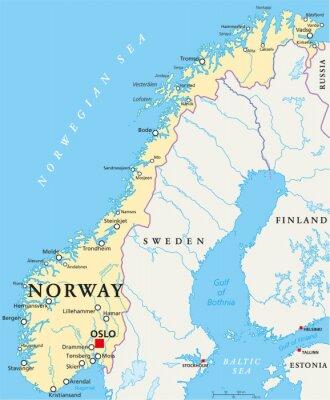 Fototapet Norge Political Map
