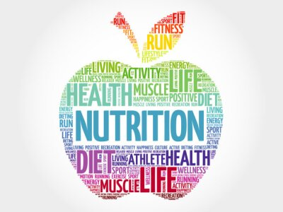 Fototapet Nutrition äpple uttrycka molnet, hälsobegrepp