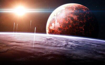 Fototapet Oändliga rymden bakgrund med nebulosor och stjärnor.