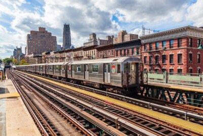 Fototapet oberirdische Subway i Manhattan, New York