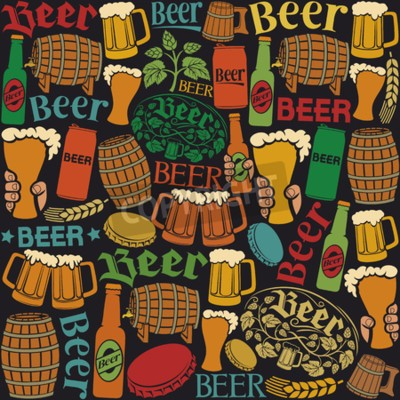 Fototapet öl ikoner seamless öl bakgrund, humle blad, flygtur gren, träfat, glas öl, öl kan, kapsylen, öl mugg, öl ölflaskor