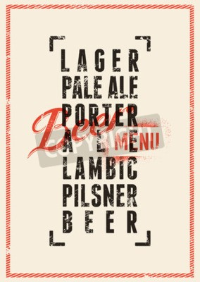 Fototapet Öl menydesign. Tappning grunge utformar öl affisch. Vektor illustration.