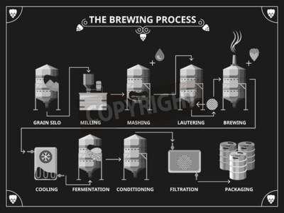Fototapet Ölbryggning processen. Vektor öltillverkning infographic set. För mosa lautering produktillustration
