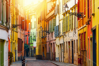 Fototapet Old colorful street in Parma, Emilia-Romagna, Italy