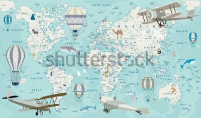Fototapet Old geography travel map with regional animals and aircrafts. Vector.