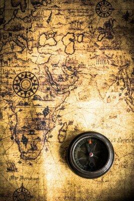 Fototapet Old med kompass