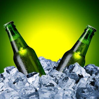 Fototapet Ölflaskor på is kub