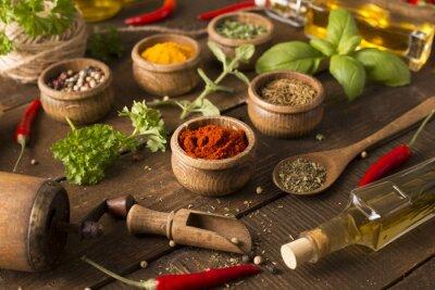 Fototapet Olika kryddor och Medelhavet örter.
