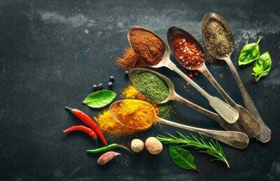 Fototapet Olika örter och kryddor