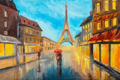 Fototapet Olje- målning av Eiffeltornet, Frankrike