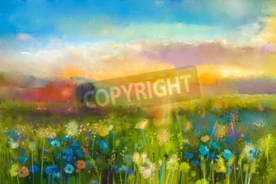 Fototapet Oljemålning blommor maskros, blåklint, prästkrage i fält. Solnedgång äng landskap med vild, backe och himmel i orange och blå färgbakgrund. Handmål sommar blommig Impressioniststilen