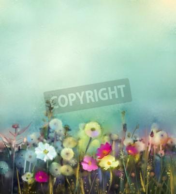Fototapet Oljemålning blommor maskros, vallmo, tusensköna i fält. Handmål Vild fält sommaräng. Spring blommor säsongsbetonad med blå - grön mjuk bakgrundsfärg.