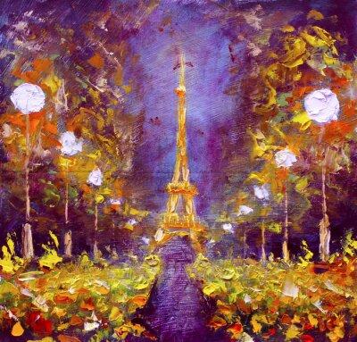 Fototapet Oljemålning - Eiffeltornet i natt Frankrike av Rybakow