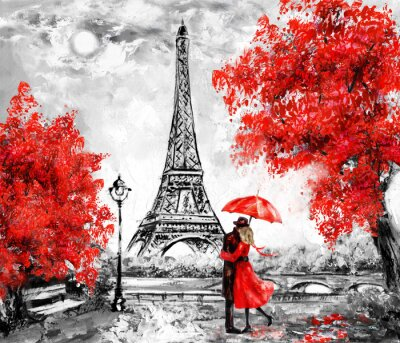 Fototapet Oljemålning, Paris. Europeisk stadslandskap. Frankrike, Bakgrund, Eiffeltornet. Svart, vit och röd, modern konst. Par under ett paraply på gatan