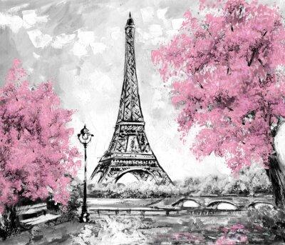 Fototapet Oljemålning, Paris. europeisk stadslandskapet. Frankrike, Wallpaper, Eiffeltornet. Svart, vit och rosa, Modern konst