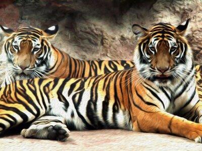 Fototapet Oljemålning Tiger / foto effekt oljemålning