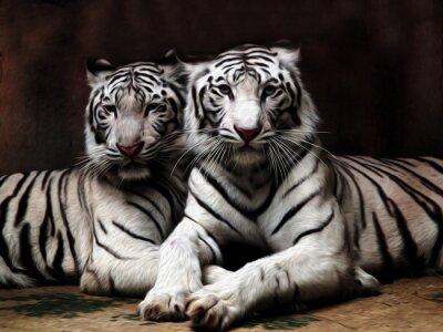 Fototapet Oljemålning White Tiger / foto effekt oljemålning