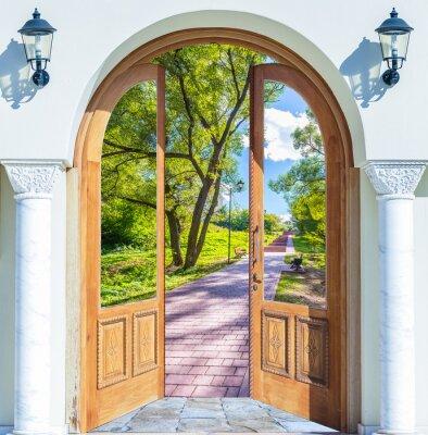 Fototapet öppen dörr stege