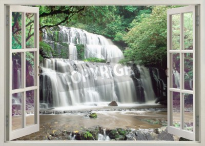 Fototapet Öppet fönster för att berömda Purakaunui Falls