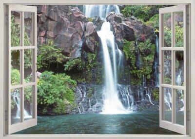 Fototapet Öppet fönster för att Cormoran vattenfall, Reunion Island