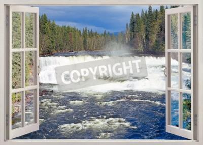 Fototapet Öppet fönster för att Dawson Falls, Murtle River, Wells Gray Provincial Park, British Columbia, Kanada