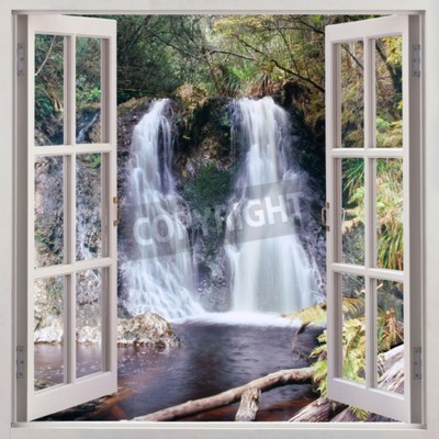 Fototapet Öppet fönster för att Hogarth Falls - en trevlig liten vattenfall inbäddat i Folk s Park i den pittoreska kust kåkstaden Strahan, Tasmanien, Australien