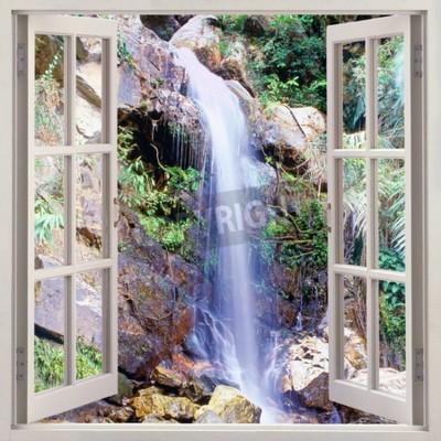 Fototapet Öppet fönster för att små vattenkaskad