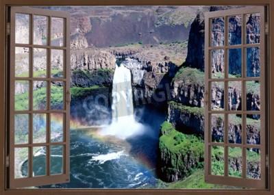 Fototapet Öppet fönster för att vattenfall