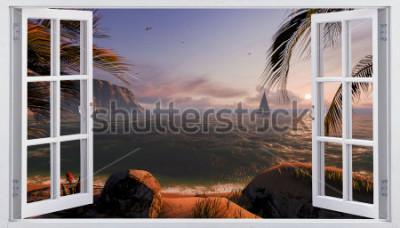 Fototapet Öppet fönster med havsutsikt