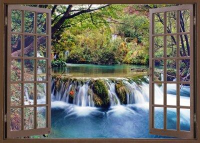 Fototapet Öppet fönster mot vattenströmmen