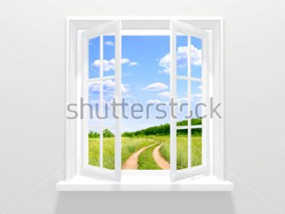 Fototapet Öppet fönster och gammal väg