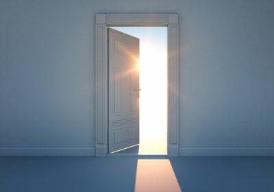 Fototapet Öppna dörren med solljus